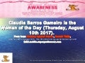 Woman of the Day (August 10th)  is Claudia Barros Gameiro. Happy Birthday to you!!! From Ronning Against Cancer, Ronald Tintin, www.SuperProfesseur.com