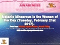 Woman of the Day (February 21st )  is Melanie Minseroux. Happy Birthday to you!!! From Ronning Against Cancer, Ronald Tintin, www.SuperProfesseur.com , http://mobile.ronningagainstcancer.xyz  and  www.mobile.superprofesseur.com