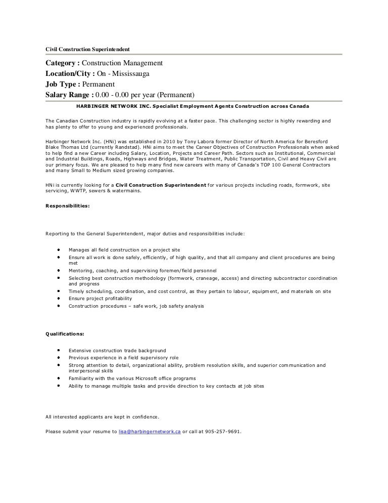 Construction Superintendent Job Description - Resume Template Ideas