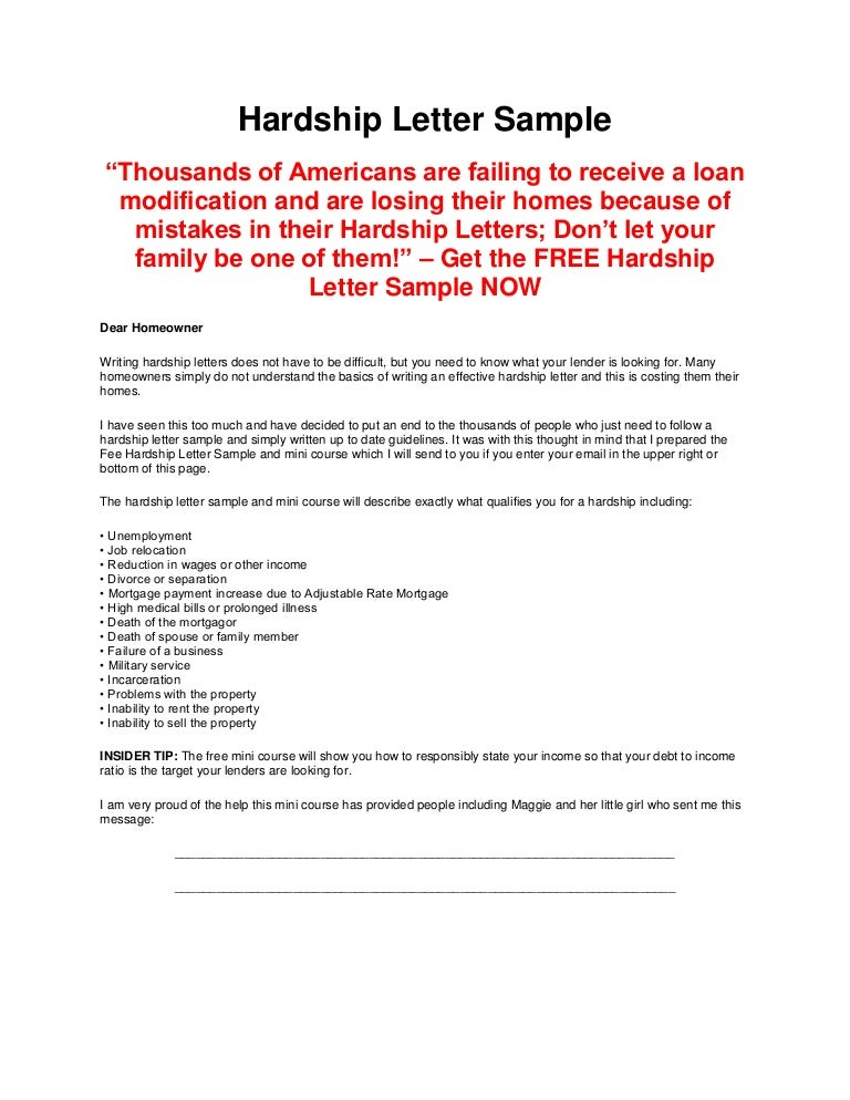 sample hardship letters for loan modification