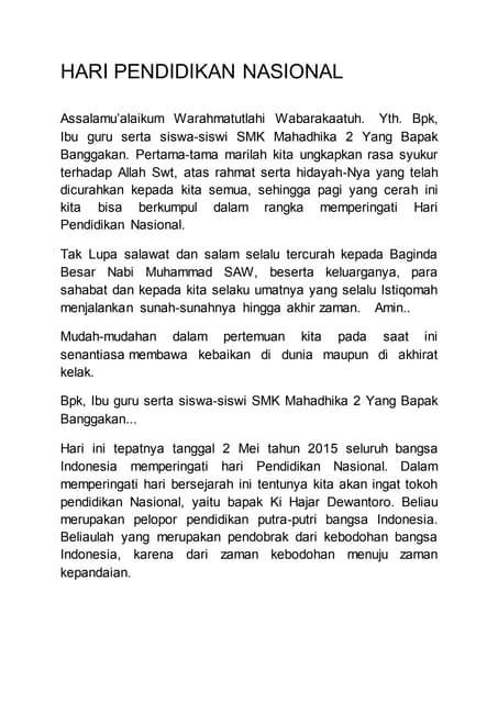 Pidato Bahasa Indonesia Hari Pendidikan Nasional