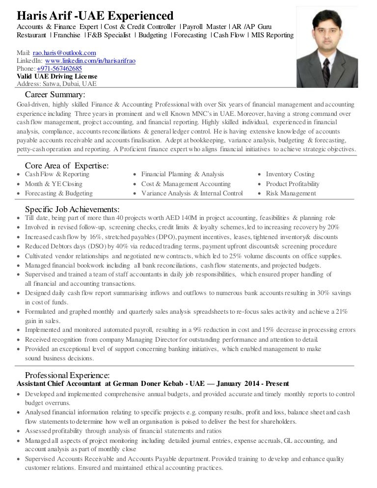haris arif acca uae experienced accounts finance expert resume - Acca Cv