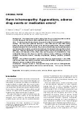 Harm in homeopathy: Aggravations, adverse drug events or medication errors?