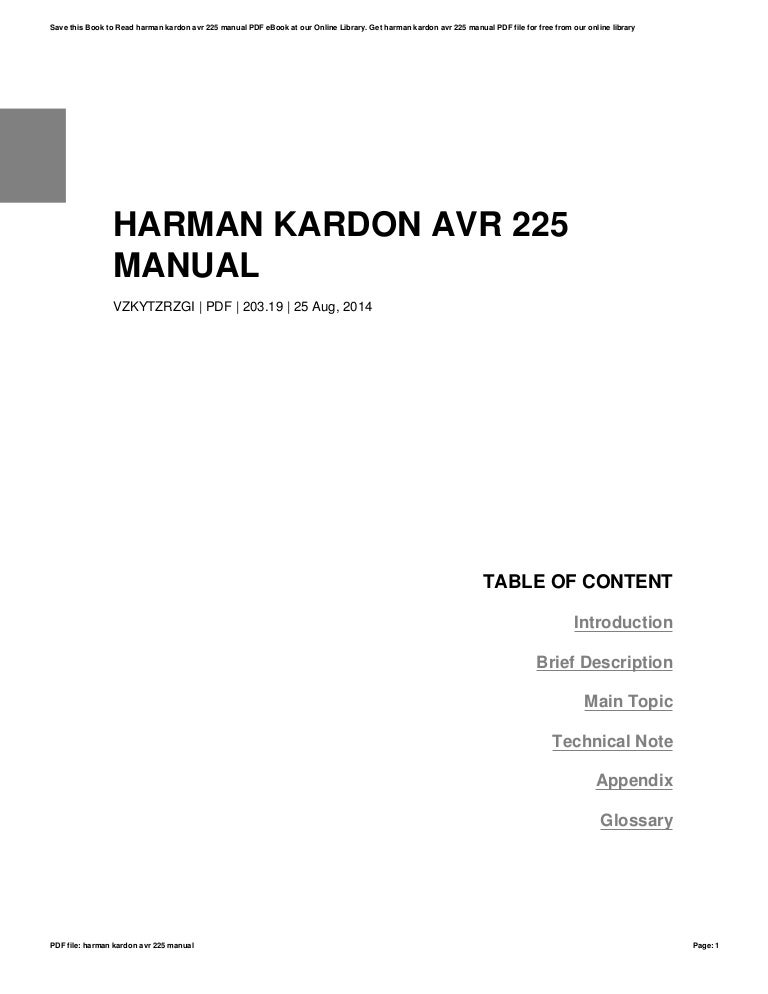 Harman kardon avr 225 manual