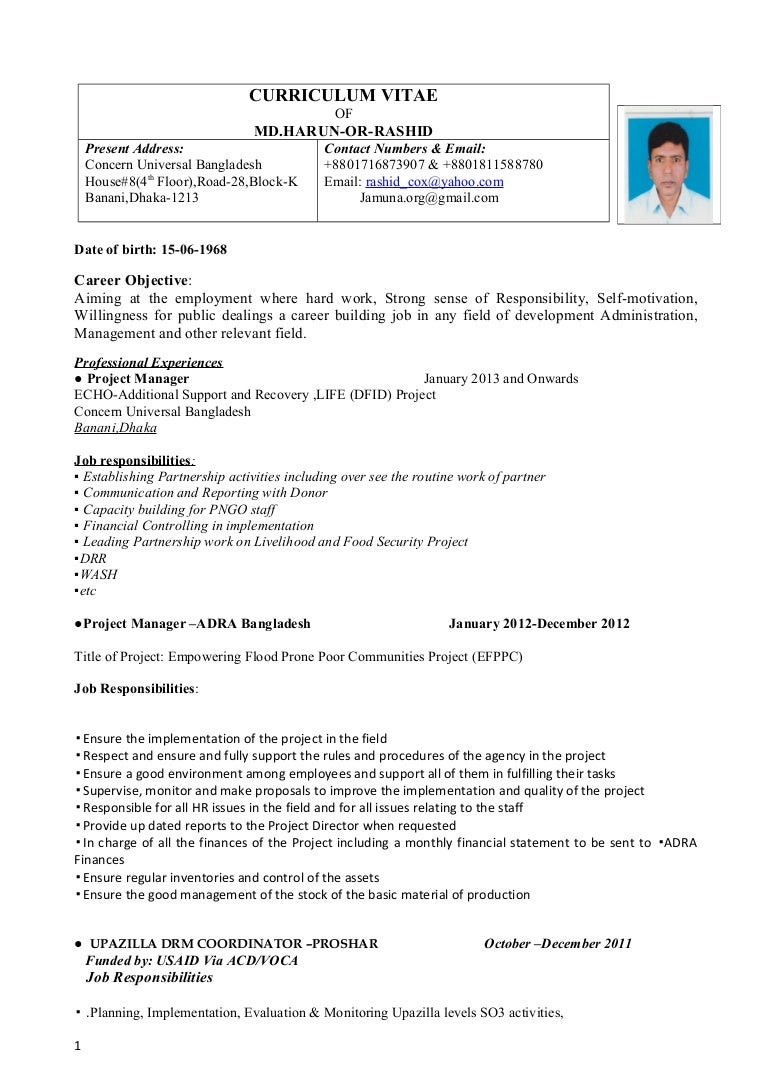 Harun cv for a voluntery job falaconquin