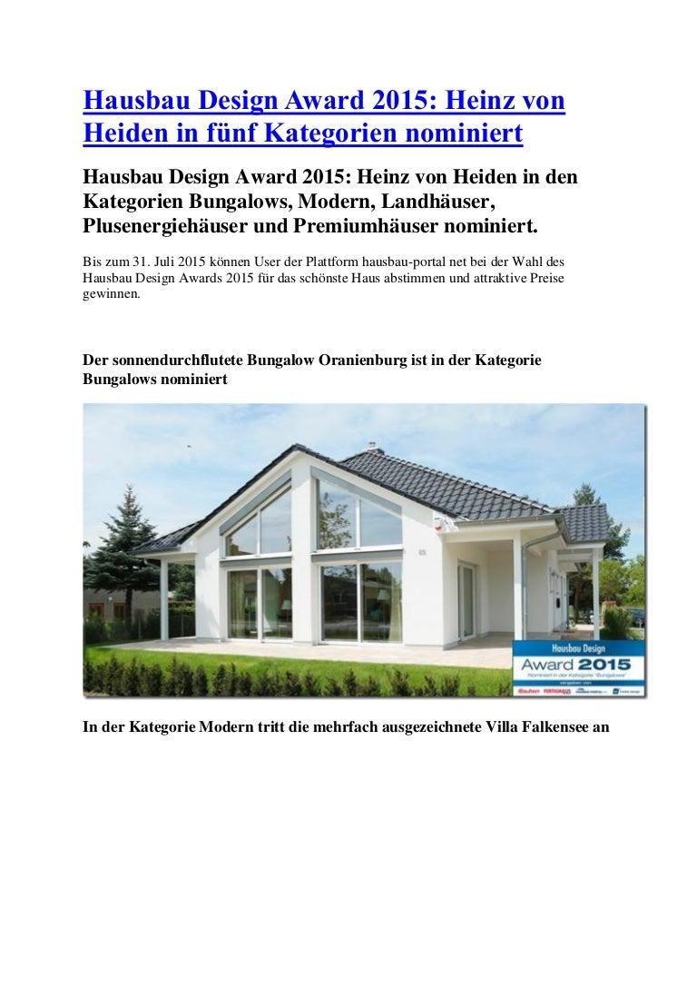 Großartig Heinz Von Heiden Häuser Preise Foto Von
