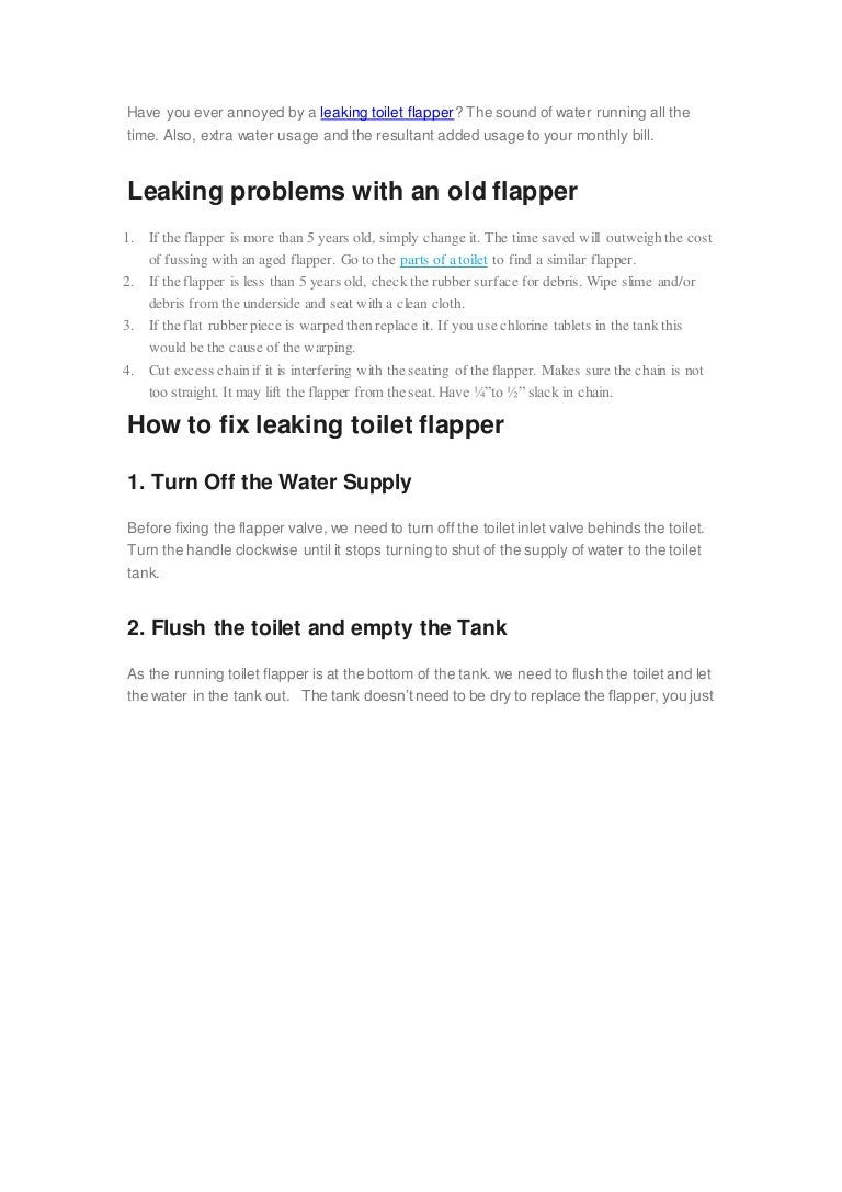 How to fix a leaking toilet flapper