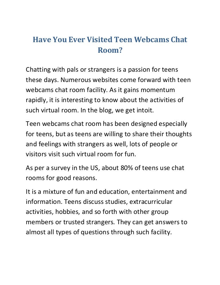 Are blog chat room teen
