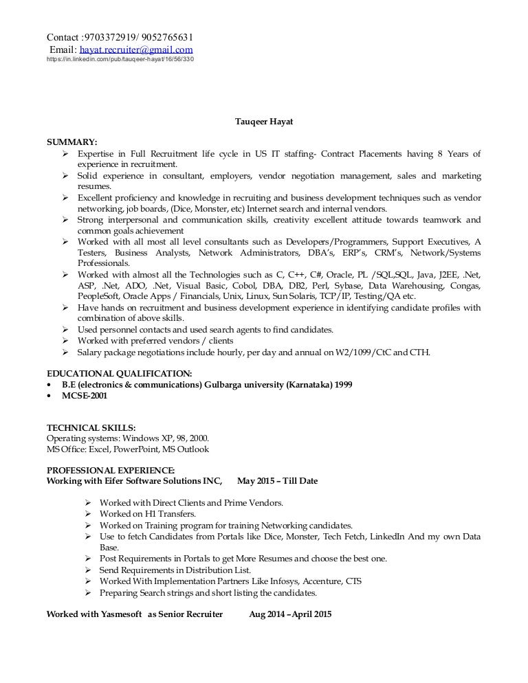 hayat it recruiting resume