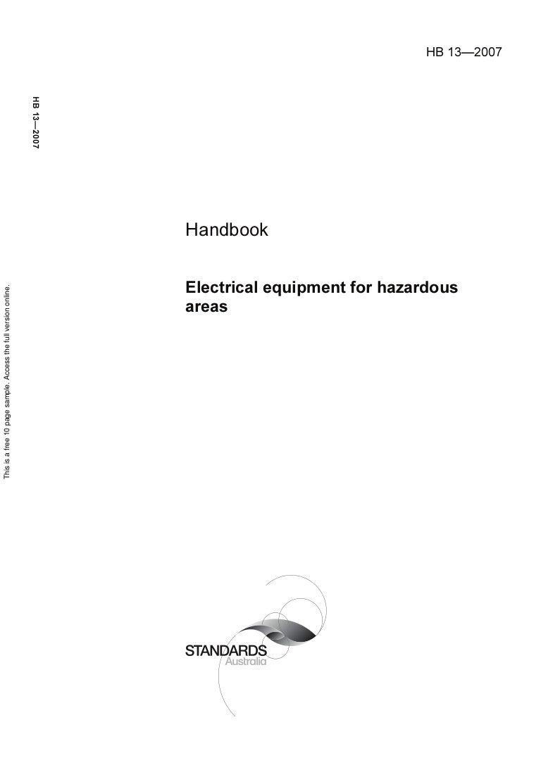 Hb 13 2007 Electrical Equipment For Hazardous Areas Australian Wiring Regulations