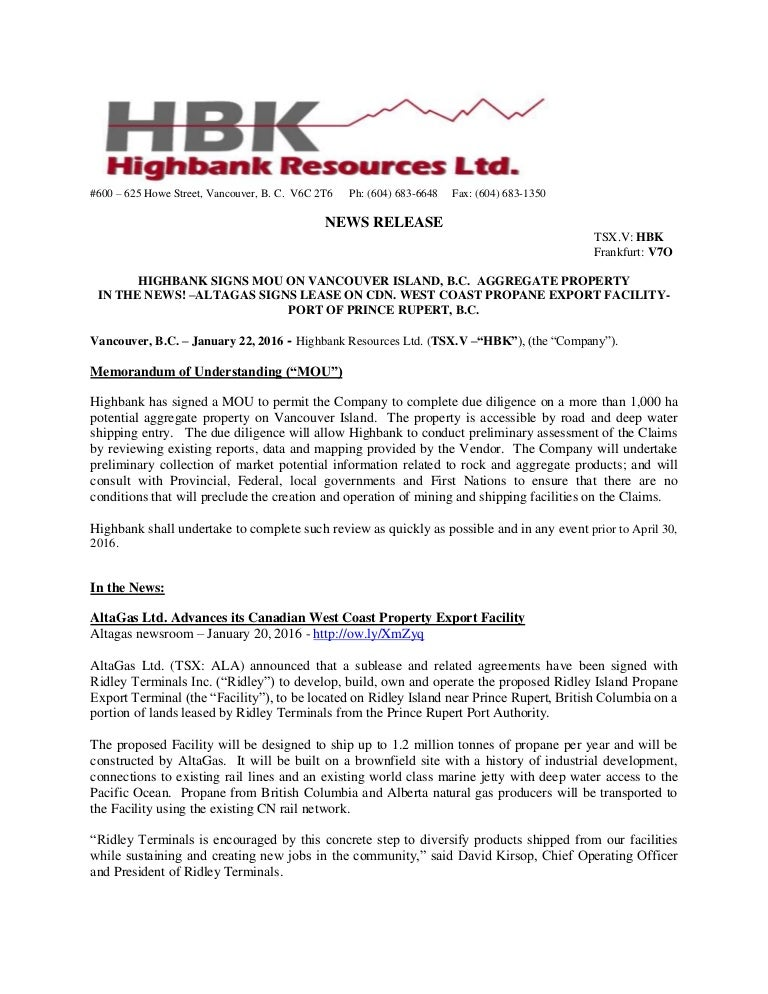 Highbank Signs Mou On Vancouver Island Bc Aggregate Property In T