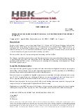 Highbank Issued Shares for Debt for $565,343 Convertible Debenture Interest