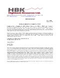 Highbank Reports on Market Activity