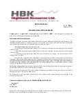 Highbank Resources Ltd. arranges $4,000,000 convertible debenture financing,receives expressions of interest of up to $2.7 million