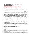 Highbank Resources Closes 1st tranche of $2.7 million of convertible debentures