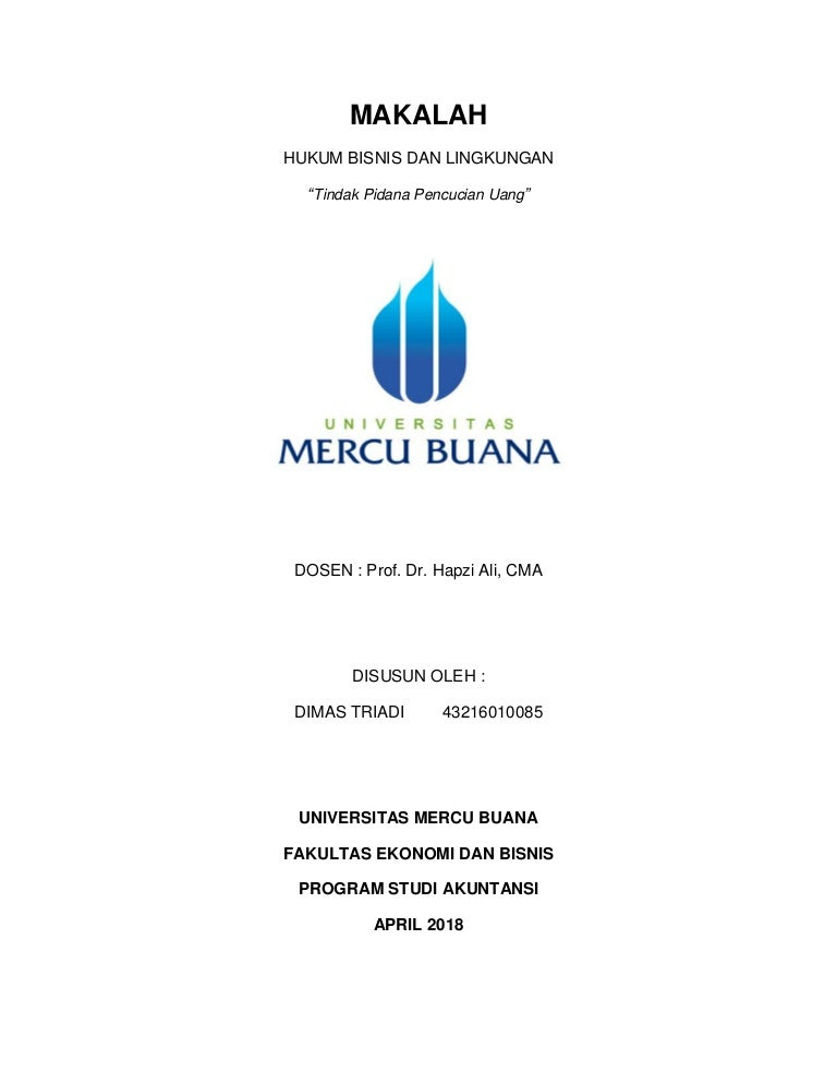 Hbl Dimas Triadi Hapzi Ali Tindak Pidana Pencucian Uang Universit