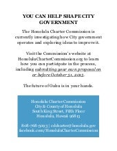 Honolulu Charter Commission Flyer