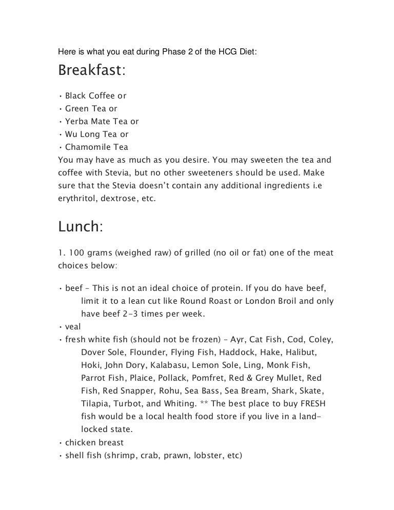 food list for hcg diet