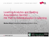 Learning Analytics and Spelling Acquisition in German - the Path to Indivdualization in Learning