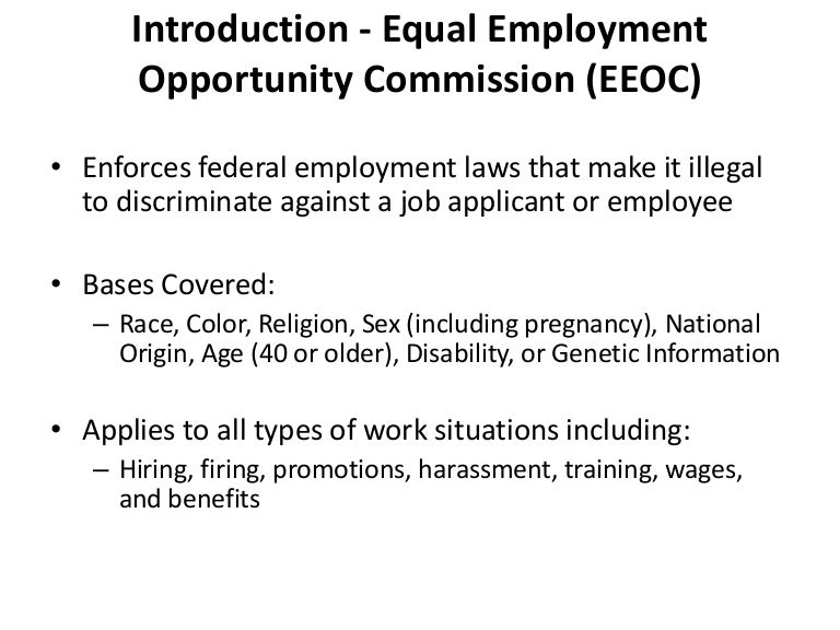 an analysis of equal employment opportunity commission eeoc Equal employment opportunity commission 2 filed under: essays tagged with: employment overview of the eeoc's function one particular group that exists to protect the employee is the equal employment opportunity commission (eeoc.