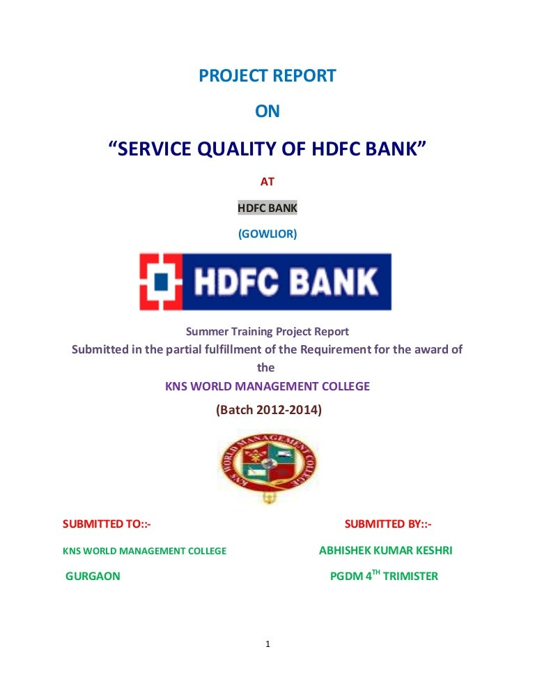 Hdfc bank project report reheart Gallery