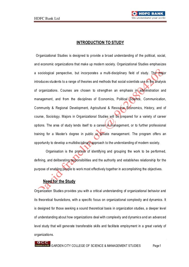 An Organizational study At HDFC Bank