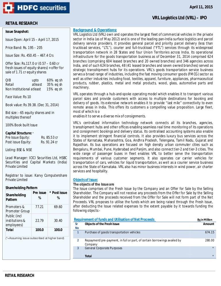 Vrl logistics ipo offer price