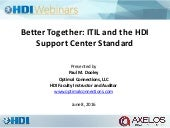 Better Together: ITIL and the HDI Support Center Standard - Webinar