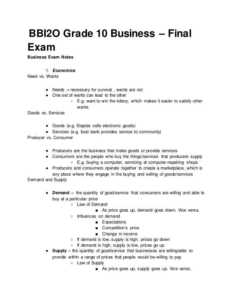 Bbi2 o grade 10 business – final exam