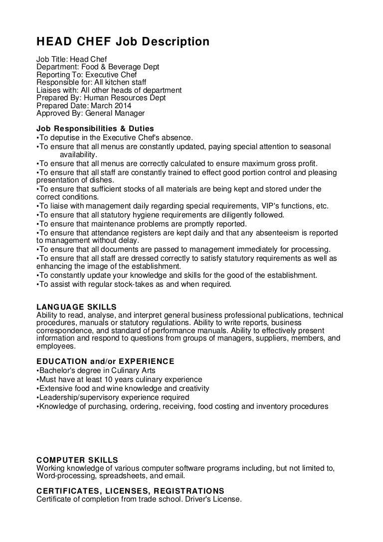 Head Chef Job Description