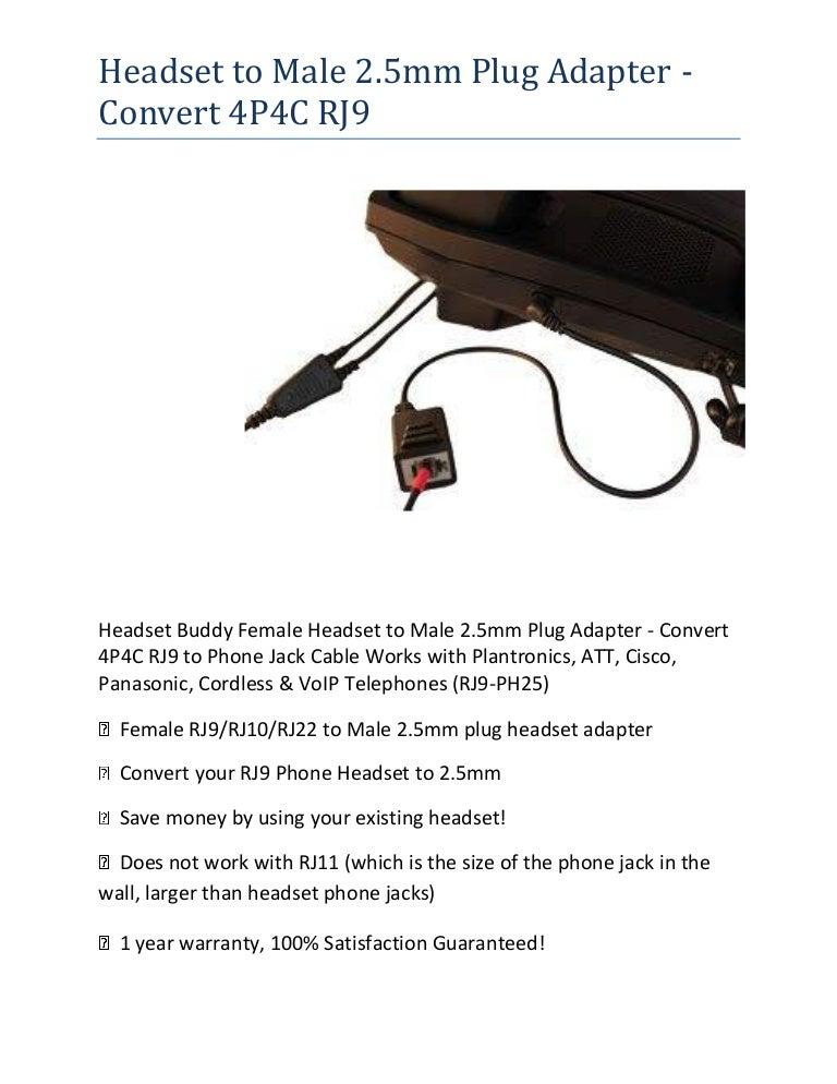 Headset To Male 2 5mm Plug Adapter Convert 4 P4c Rj9