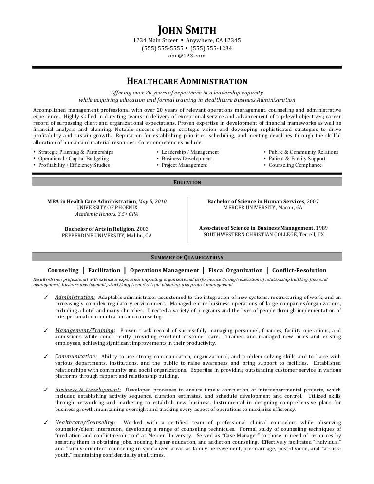 health administration resume - Ideal.vistalist.co