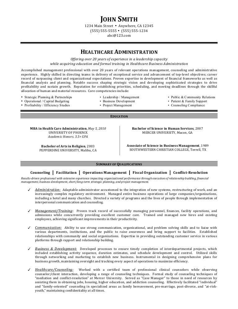 Healthcare Administration Job Description For Resume - Today Manual ...