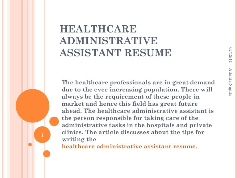 healthcare administrative assistant resumes