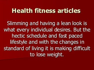 Good Health and Fitness articles?