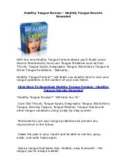 Healthy Tongue Forever - Healthy Tongue Secrets Revealed
