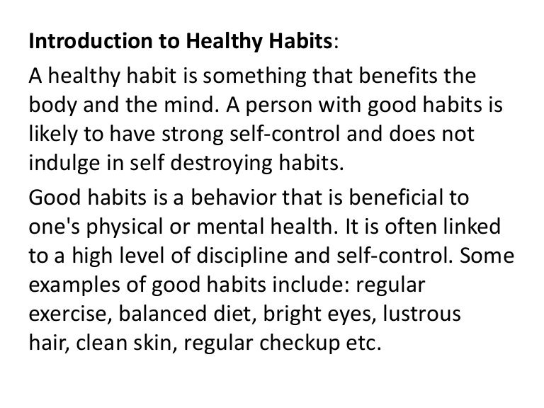 healthy habits essay