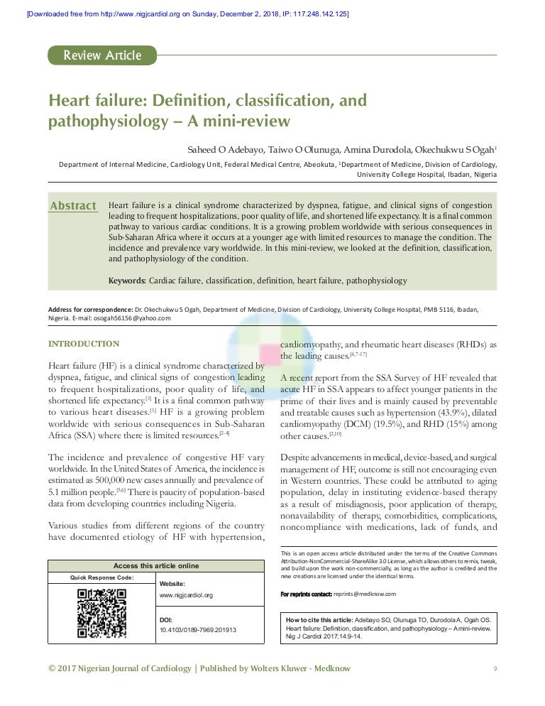 Heart failure definition classification
