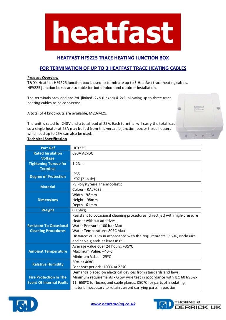 Heatfast HF9225 Heat Tracing Junction Box - Spec Sheet