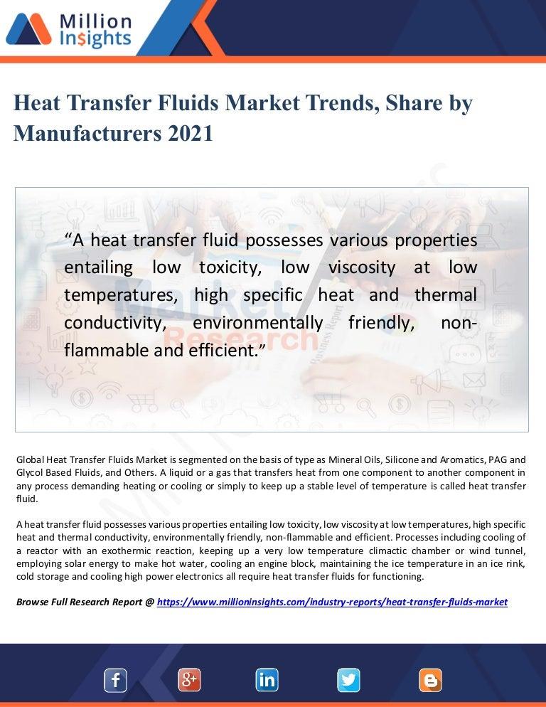 Heat transfer fluids market trends, share by manufacturers 2021
