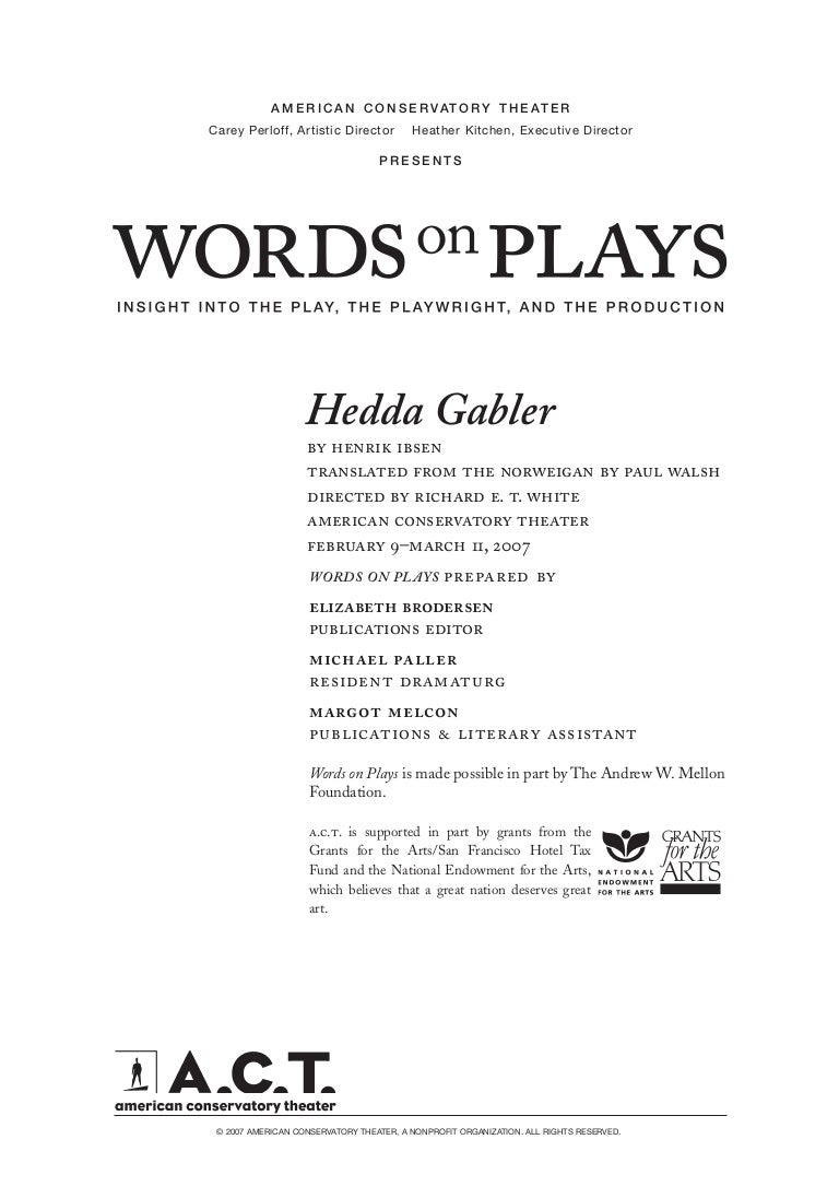 hedda gabler words on plays