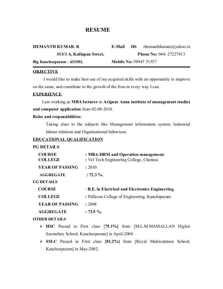 Hemanth Kumar Resume