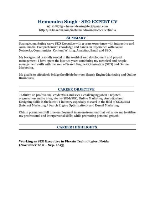 SEO Resume Sample Surender kumar resume