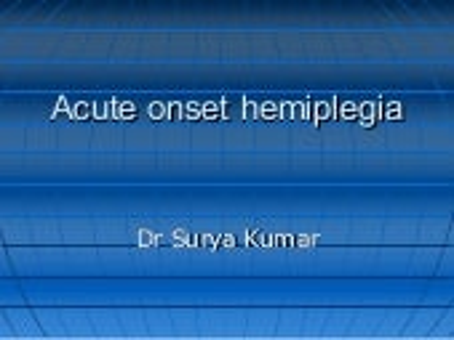 Hemiplegia stroke