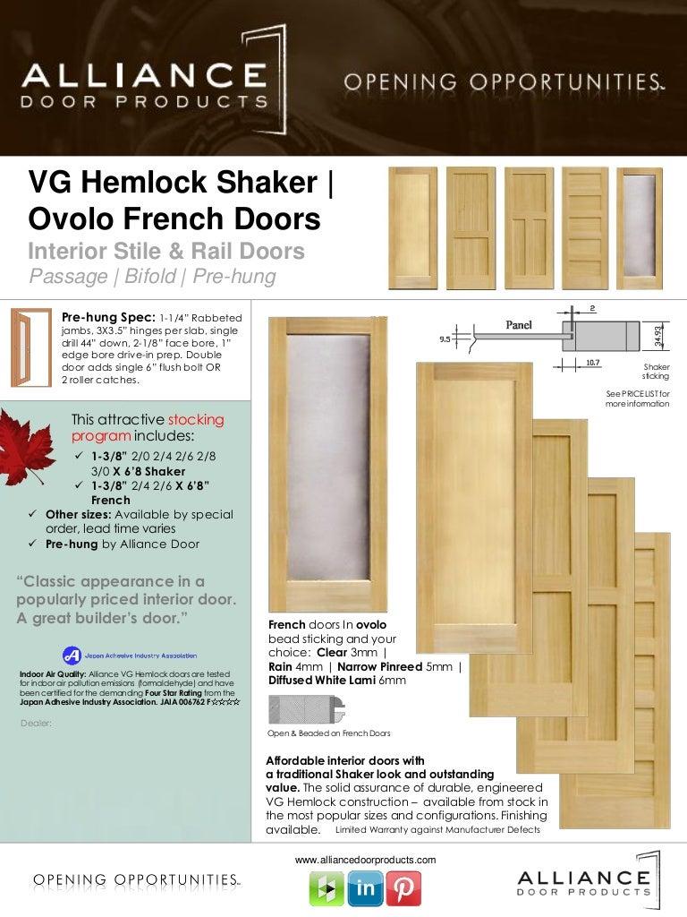 VG Hemlock Shaker   French Stile & Rail Interior Door