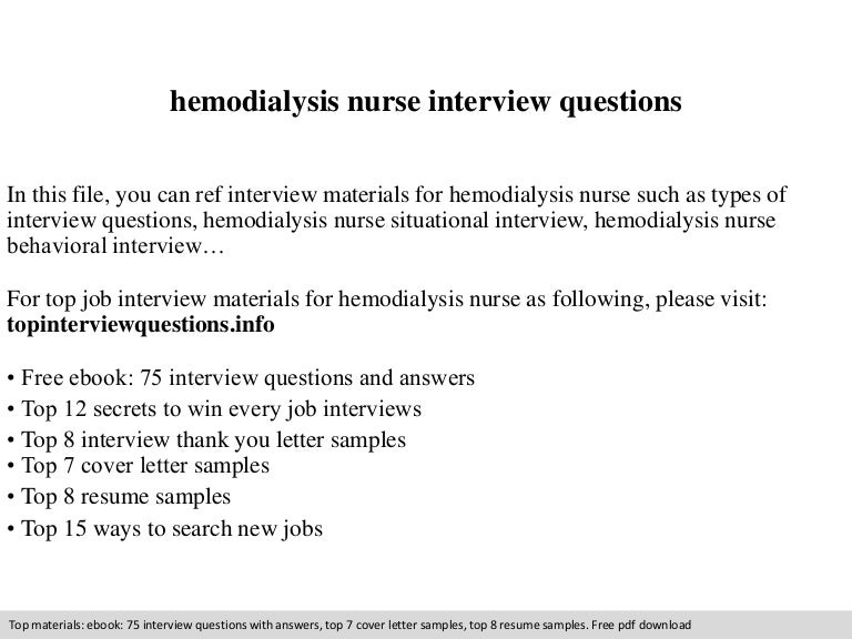 hemodialysis nurse interview questions - Dialysis Nurse Resume Sample
