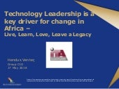 Technology Leadership is a key driver for change in Africa