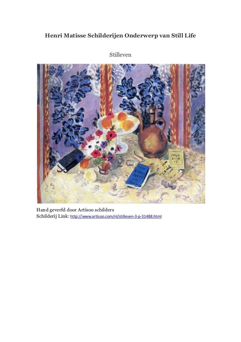 Uitgelezene Henri matisse schilderijen onderwerp van still life - artisoo BF-74