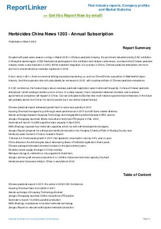 Herbicides China News 1203 - Annual Subscription