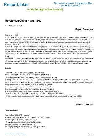 Herbicides China News 1302